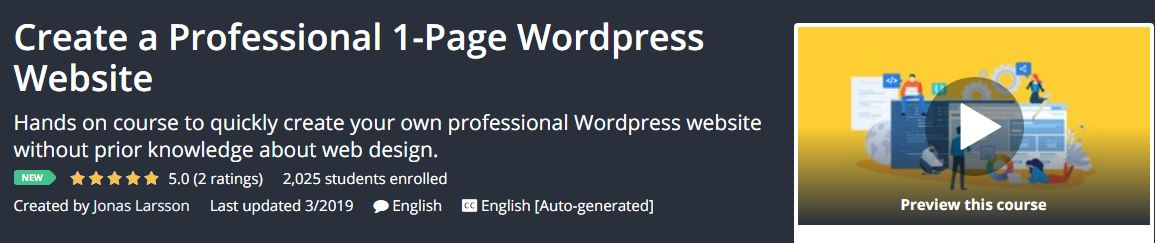 Create a Professional 1-Page Wordpress Website Download