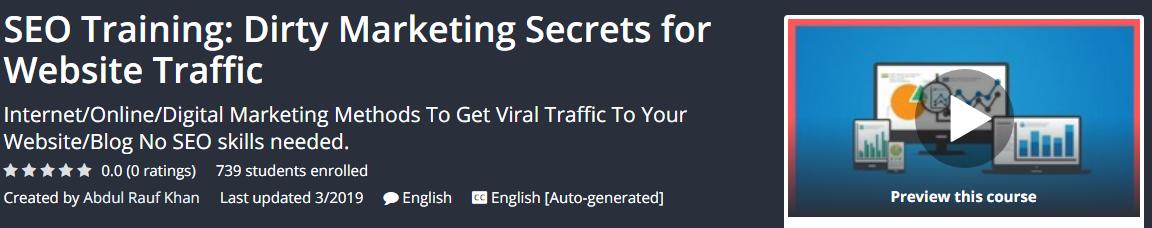 [GET] SEO Training: Dirty Marketing Secrets for Website Traffic Download
