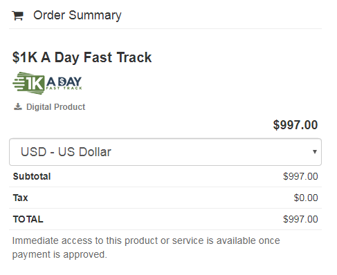 Buy 1k A Day Fast Track Training Program Price Cheapest