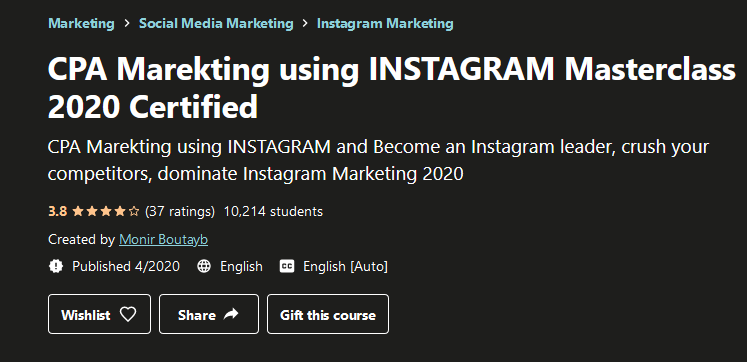 CPA Marekting Using INSTAGRAM Masterclass (2020) Certified Free Download