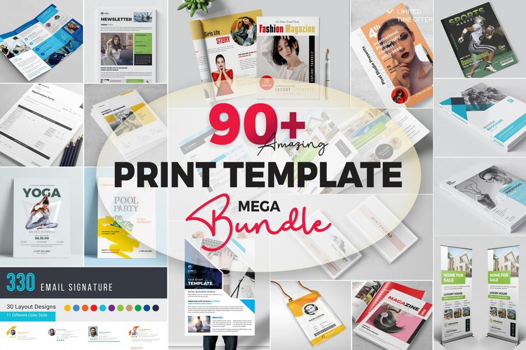 90+ Print Templates Mega Bundle Free Download